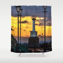 Maryport Lighthouse At Sunset Shower Curtain