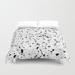 Black White and Grey Speckles Terrazzo Monochrome Dots Patter Duvet Cover