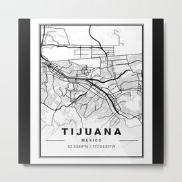 Tijuana, Mexico, street map, GPS coordinates Metal Print