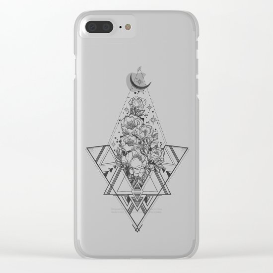 Desert Geometric Roses Coral Clear iPhone Case