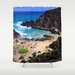 "Forbidden, ""NO TRESPASSING"" Beach in Oahu, Hawaii Shower Curtain"
