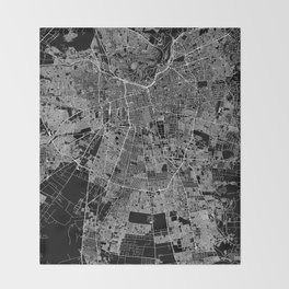 Santiago Black Map Throw Blanket