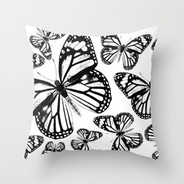 Monarch Butterflies | Monarch Butterfly | Vintage Butterflies | Butterfly Patterns | Black and White Throw Pillow