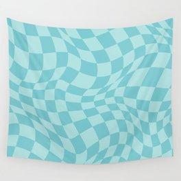 Warped Checkered Pattern in Aqua Mint Ocean Blue, Trippy Check Liquid Swirl, Wavy Checkerboard Wall Tapestry