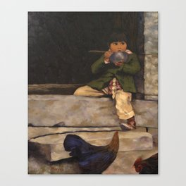 Little Boy and Bowl of Soup Canvas Print