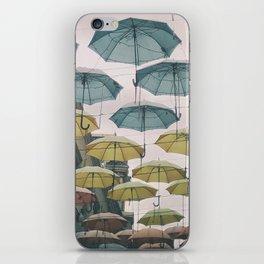 Umbrellas in the sky iPhone Skin