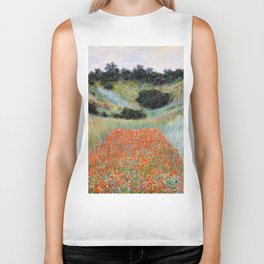 Poppy Field in a Hollow near Giverny by Claude Monet Biker Tank