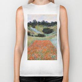 Poppy Field in a Hollow near Giverny by Claude Monet Biker Tank