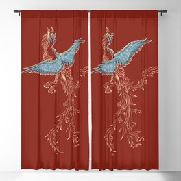 Phoenix or Dragon traditional Asian pattern with phoenix. Chinese Dragon and bird Blackout Curtain