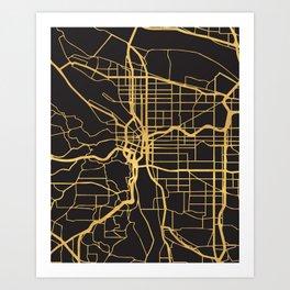PORTLAND OREGON GOLD ON BLACK CITY MAP Art Print
