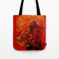 viking Tote Bags featuring Viking  by David Miley