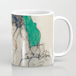 Egon Schiele - Crouching Woman with Green Headscarf Coffee Mug