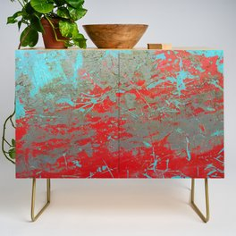 texture - aqua and red paint Credenza