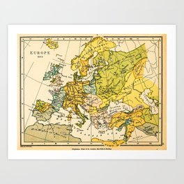 Europe in 1135 - Vintage Map Collection Art Print