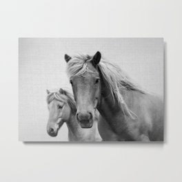 Horses - Black & White Metal Print