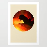 godzilla Art Prints featuring godzilla by avoid peril