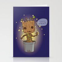 groot Stationery Cards featuring Groot by Lalu - Laura Vargas