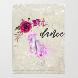 Dance with Ballet Shoes with a Floral Poppy Frame Poster