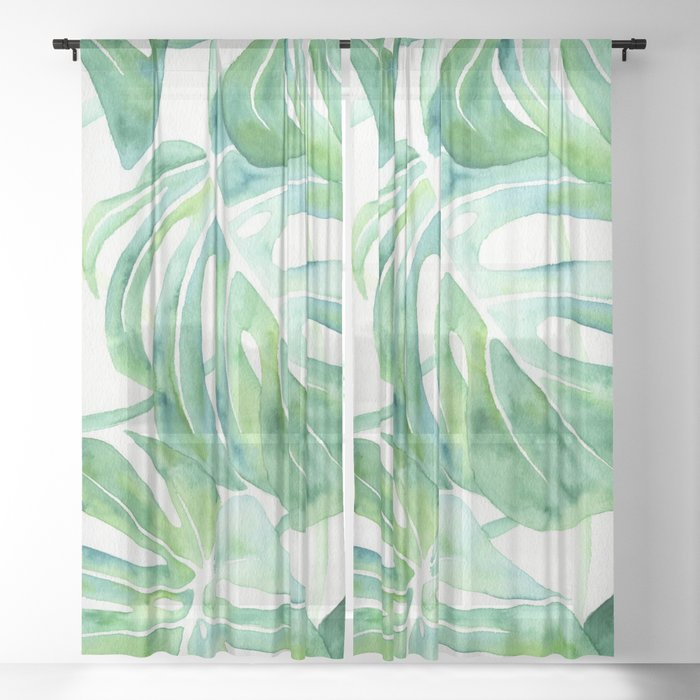 Monstera Leaf Pattern Sheer Curtain