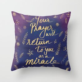 Purple Blue Typography Prayer Miracle Faith Spirituality Quote Watercolor Motivational Art Print Throw Pillow