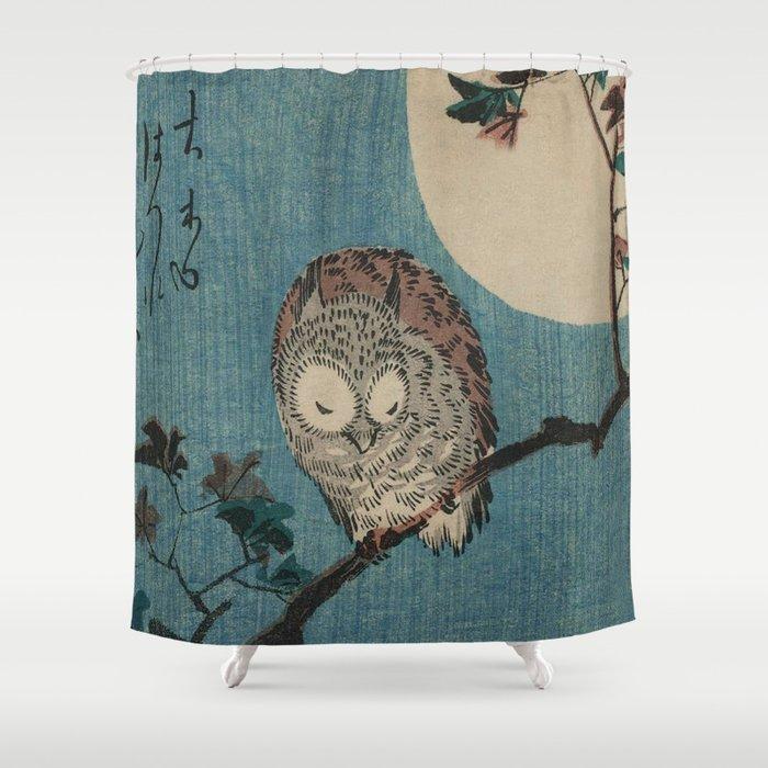 Vintage Japanese Owl Shower Curtain