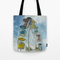 ferris wheel Tote Bags featuring Ferris Wheel by Mary Kilbreath
