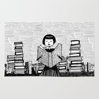 bookworm Area & Throw Rugs featuring Bookworm by kate gabrielle