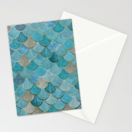 Moroccan Fish Scale Mermaid Pattern, Teal Blue and Gold Stationery Cards