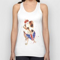 jack russell Tank Tops featuring LONDON - Jack Russell Art - Union Jack by eastwitching