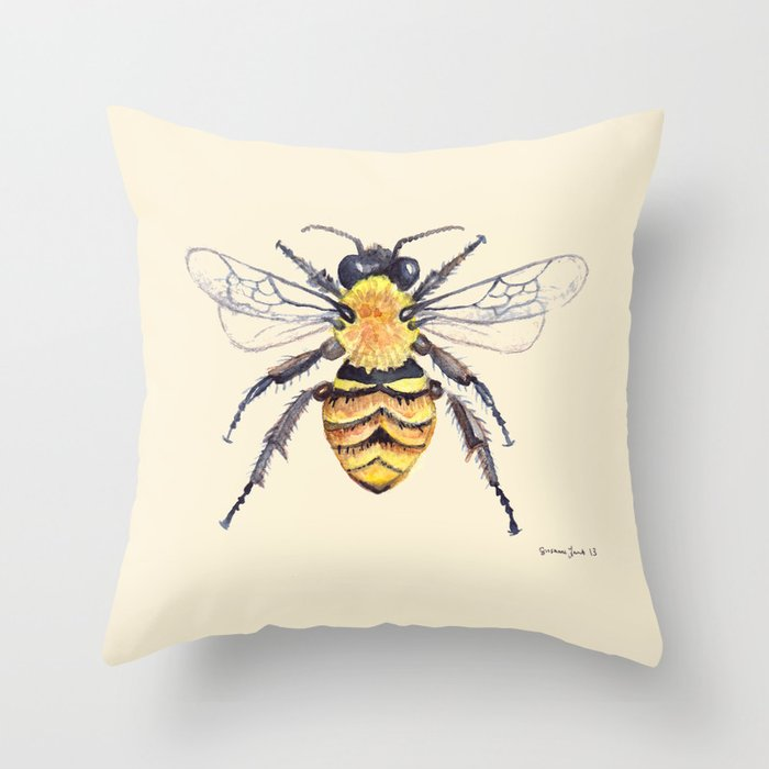 Watercolor Bee Throw Pillow