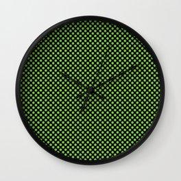 Black and Jasmine Green Polka Dots Wall Clock