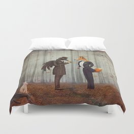 Raven and Fox in  a dark forest looking at the watch Duvet Cover