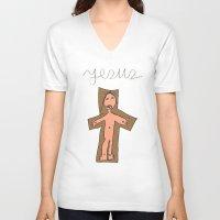 jesus V-neck T-shirts featuring Jesus by Mafalda Araújo Jorge