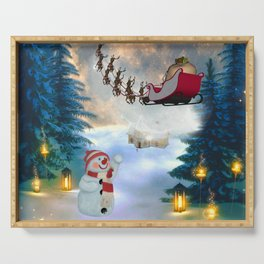 Christmas, snowman with Santa Claus Serving Tray