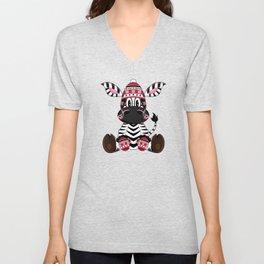 Bobble Hat Zebra Unisex V-Neck