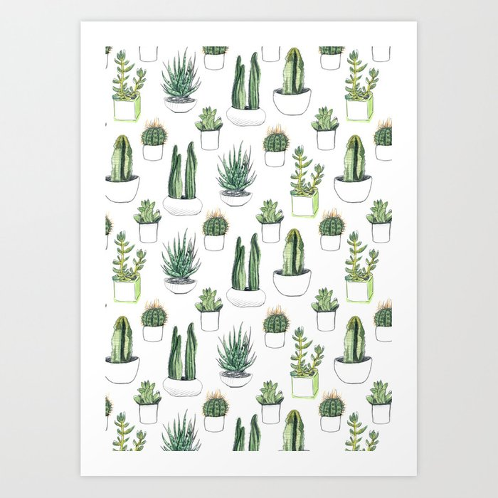 Watercolour Cacti & Succulents Kunstdrucke