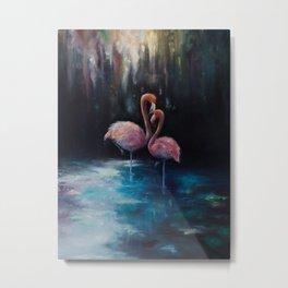 Flamingos in Love Metal Print