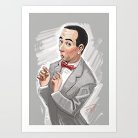 pee wee Art Prints featuring Pee Wee Herman by Michael Jared DiMotta Illustrations