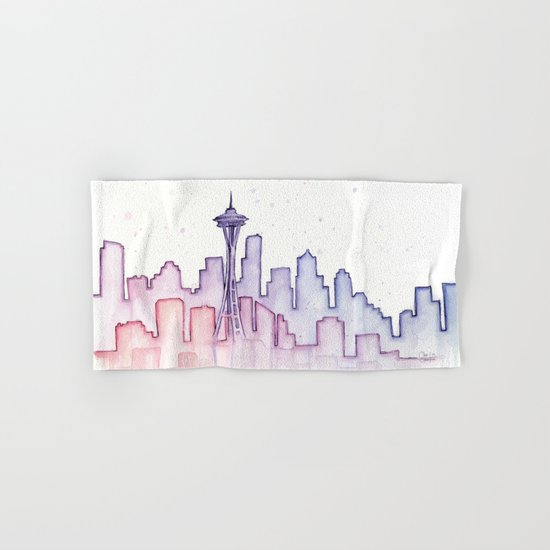 Seattle Skyline Watercolor Hand & Bath Towel