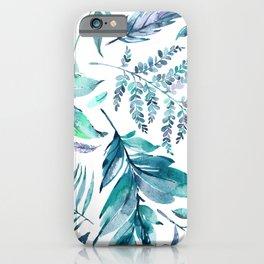 Teal manic botanic iPhone Case