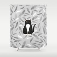 mew Shower Curtains featuring Black cat by S.Y.Hong