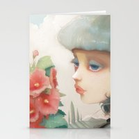 et Stationery Cards featuring Pensees et roses tremieres by Ludovic Jacqz