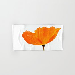 One And Only - Orange Poppy White Background #decor #society6 #buyart Hand & Bath Towel