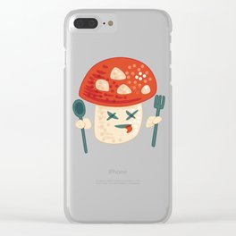 Funny Cartoon Poisoned Mushroom Clear iPhone Case