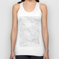 white marble Tank Tops featuring White Marble by Coconuts & Shrimps