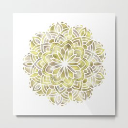 Mandala Multi Metal Yellow Gold Metal Print
