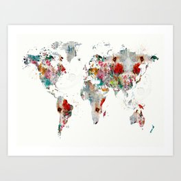 World map abstract wall tapestry by bribuckley society6 world map abstract art print gumiabroncs Gallery