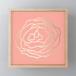 Flower in White Gold Sands on Salmon Pink Framed Mini Art Print