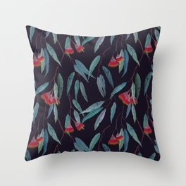 Eucalyptus leaves and flowers on dark violet Throw Pillow