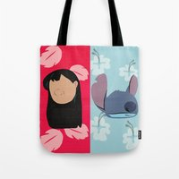 lilo and stitch Tote Bags featuring Lilo & Stitch by Raquel Segal